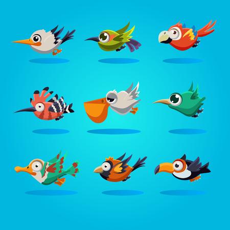 Funny cartoon birds, illustration set Ilustrace