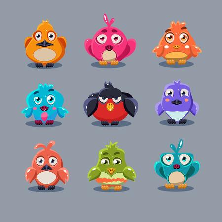Funny cartoon birds, vector illustration set