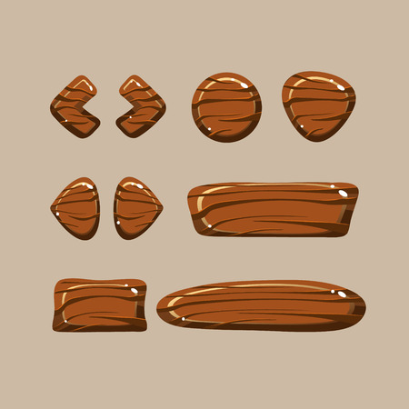 Set of cartoon wooden buttons with different shapes, gui elements Archivio Fotografico - 128162262