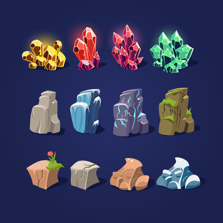 black stone: Set of cartoon vector illustration stones and minerals Illustration