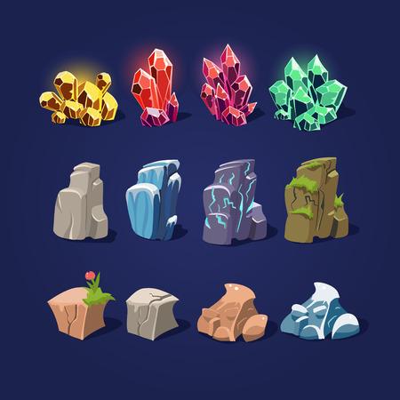 Set of cartoon vector illustration stones and minerals Illustration