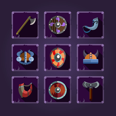Viking element. Cartoon weapons. Game icons. Vector