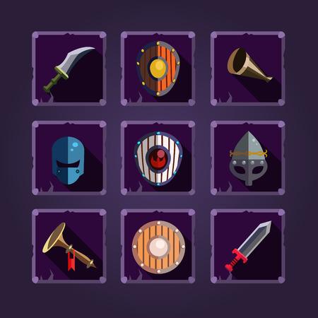 vikingo: Elemento de vikingo. Armas de dibujos animados. Iconos del juego.