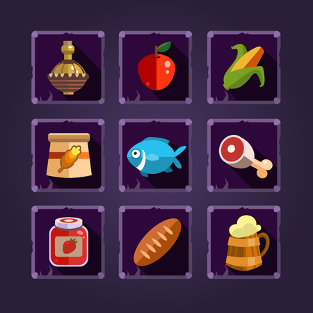 Resource icons for games. Food and potions. Vector illustration. Illustration