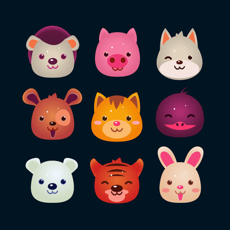 Vector illustration of animal faces set Vector