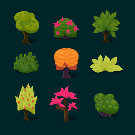 cilp: illustration of isolated set of tree on white background Illustration