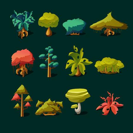 arboles de caricatura: Elementos de la naturaleza de la historieta objetos en el fondo blanco Vectores