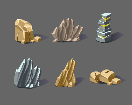 recourse: Set of cartoon stones and minerals Illustration