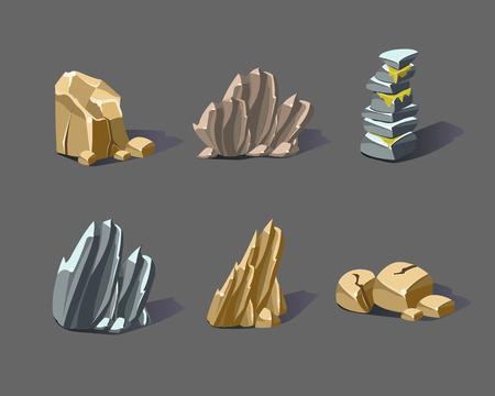 Set of cartoon stones and minerals Illustration