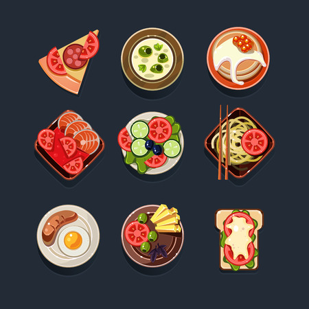 side dish: Set of traditional food icons vector