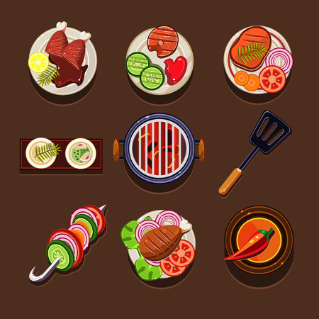 barbecue stove: Bbq grill icon flat set with meat and fish steaks and cooking utensil isolated vector illustration Illustration