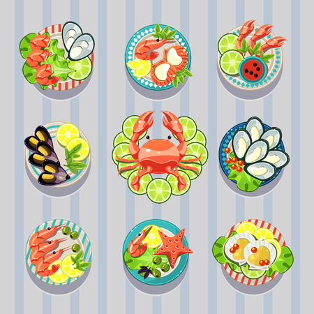 lay: Infographic elements food business seafood flat lay idea. Vector illustration can be used for layout, advertising and web design.