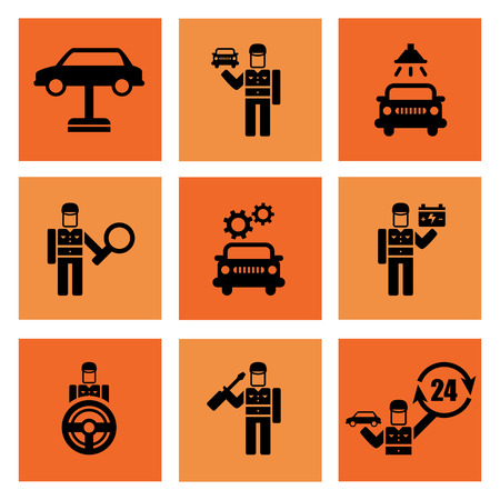 Auto service car auto mechanic repair icons flat set isolated vector illustration Vector