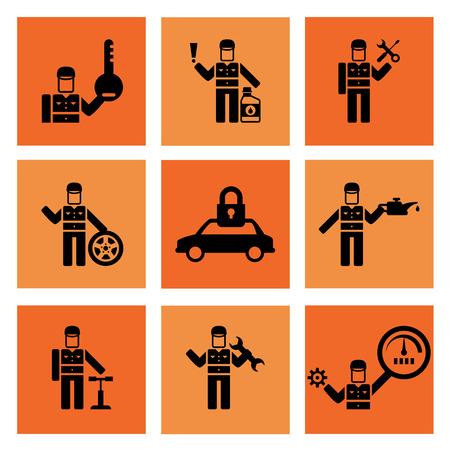 auto service: Auto service car auto mechanic repair icons flat set isolated vector illustration