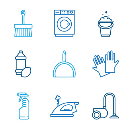 vacuum cleaner worker: Cleaning tools icons in flat color style vector Illustration