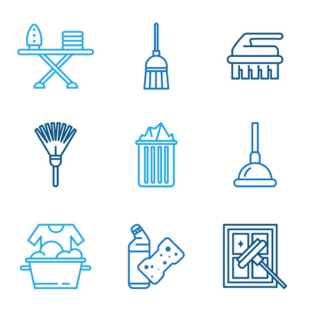 vacuuming: Cleaning tools icons in flat color style vector Illustration