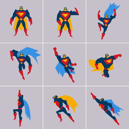 Superhero in Action. Superhero silhouette in different poses vector Çizim