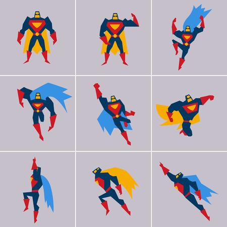 Superhero in Action. Superhero silhouette in different poses vector Vettoriali