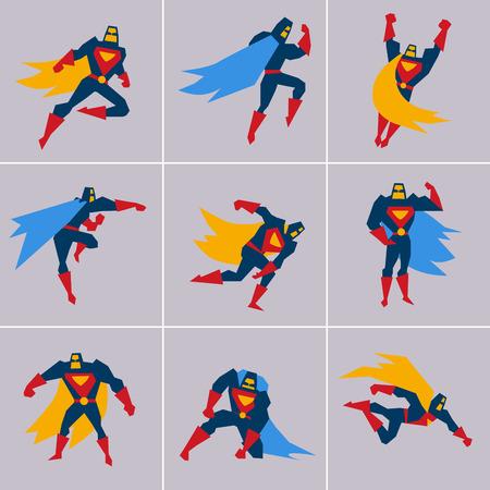 アクションでのスーパー ヒーロー。さまざまなポーズのベクトルでスーパー ヒーローのシルエット