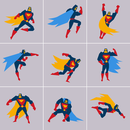 cartoon superhero: Superhero in Action. Superhero silhouette in different poses vector Illustration