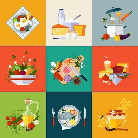 plato de pescado: Cocina y Restaurante Vegetariano vector de comida Vectores