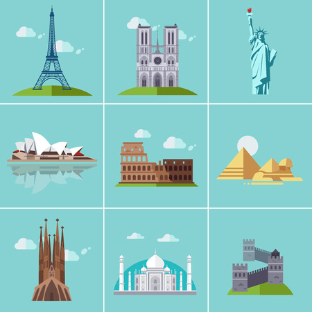 places of interest: Vector illustration of popular sightseeing spots in the world