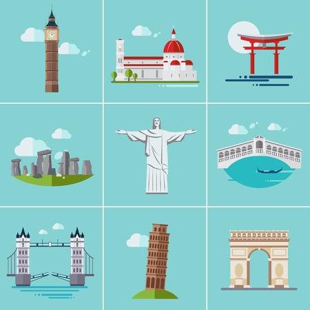 amphitheatre: Vector illustration of popular sightseeing spots in the world