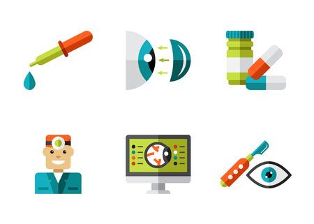 Optical icons, ophthalmology icons set, vector symbols