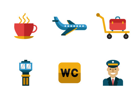 airport security: Airport icons flat set with baggage check airplane security control isolated vector illustration