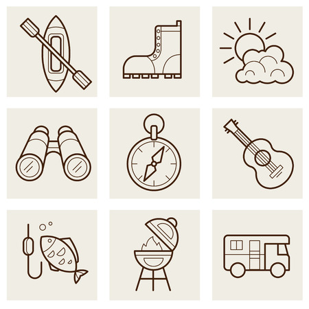 damhirsch: Camping und Outdoor-outline-Icons Set Illustration