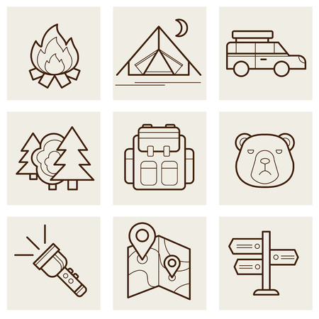 sleeping car: Camping and Outdoor outline icons set