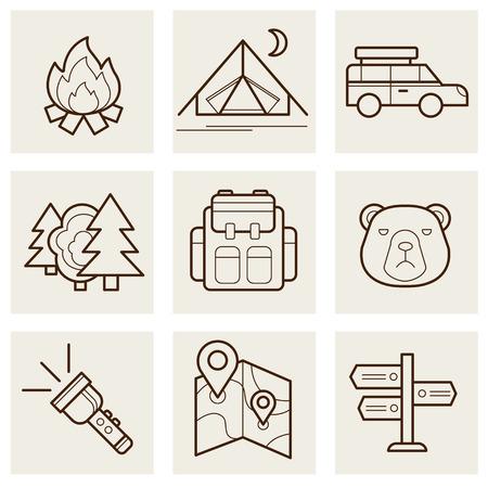 jachere: Camping contour ext�rieur icons set