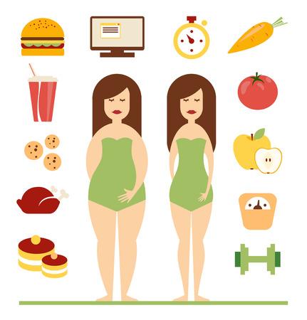 mujeres gordas: Infografía de condición física y el deporte, estilo de vida saludable, las mujeres existe antes y después de la dieta