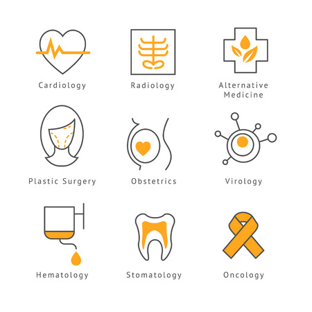 face surgery: Colored Medical  Health Care Icons set