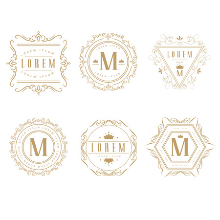 monogram: Set of elegant monogram design. Illustration