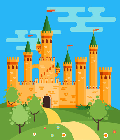 castillos de princesas: Cuento de hadas ilustración vectorial castillo plana