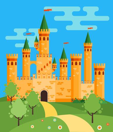castello medievale: Fiaba illustrazione vettoriale castello piatta Vettoriali