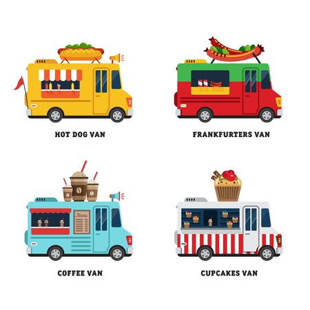 negocios comida: Calle van comida. La entrega de la comida rápida. Diseño plano ilustración vectorial aislados en fondo blanco