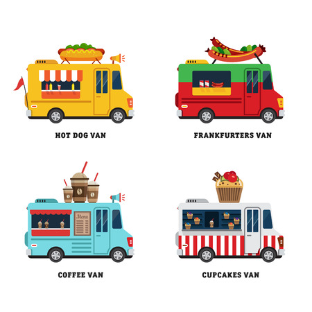 food: Street food van. Fastfood delivery. Flat design vector illustration isolated on white background