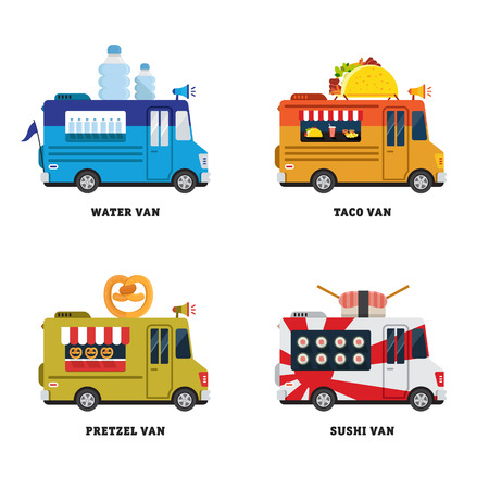 savory: Street food van. Fastfood delivery. Flat design vector illustration isolated on white background