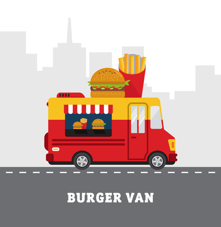 lunch room: Street food van. Fast food delivery. Flat design vector illustration isolated on white background