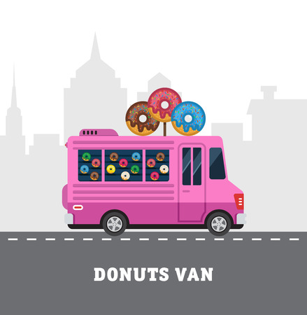 food to eat: Street food van. Fast food delivery. Flat design vector illustration isolated on white background