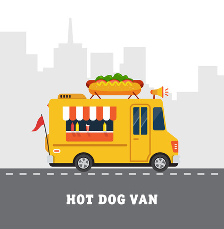 food illustration: Street food van. Fast food delivery. Flat design vector illustration isolated on white background