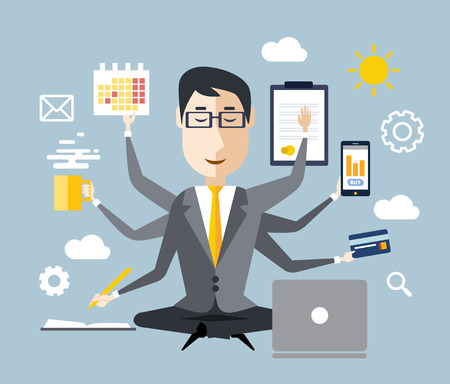 BUSY OFFICE: Businessman with multitasking and multi skill. Keep calm. Business concept. Flat design Illustration