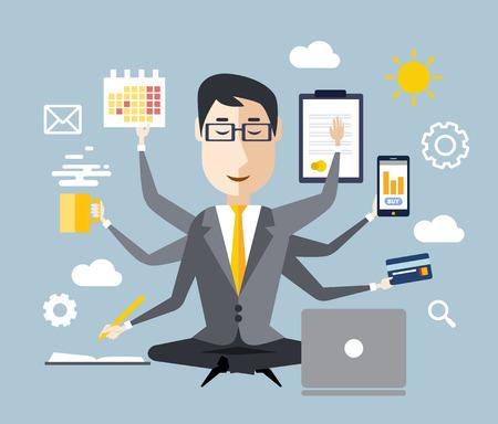 eficiencia: Hombre de negocios con la multitarea y multi habilidad. Mantén la calma. Concepto de negocio. Diseño plano
