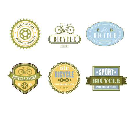 bike chain: Typographic Bicycle Themed Label Design Set - Bike Shop and Service