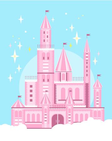 castello medievale: Illustrazione di una Cute Pink Castle vettore Vettoriali