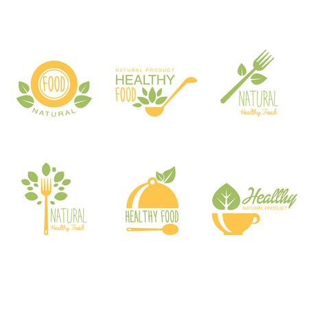 and organic: Set of organic and natural food labels or logos. Vector illustration