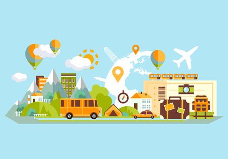 バケーション フラット デザイン セットを旅行します。ベクトルの概念図。旅行のバナーです。