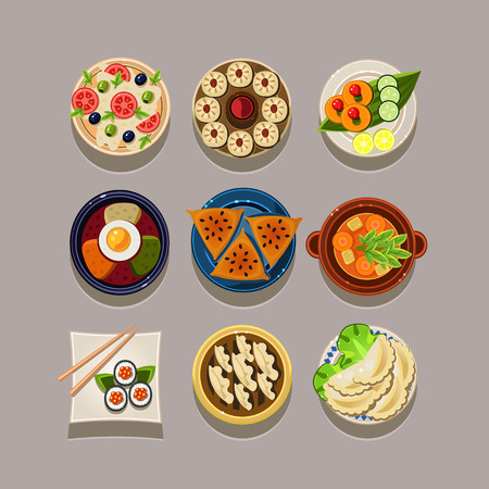 Korean food Vector Illustration set